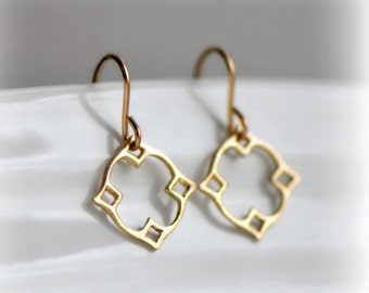 Moroccan Dangle Earrings in Gold, Gold Dangle Earrings, Jewelry Gift for Her, Tiny Gold Earrings, Small Delicate Gold Earrings, Blissaria