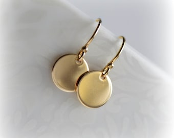 Small Gold Earrings, Simple Gold Disc Earrings, Gold Disc Earrings, Gift for Her, Dainty Gold Earrings, 14k Gold Fill Earrings by Blissaria