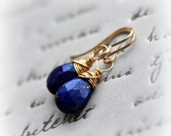 Lapis Lazuli Earrings, Lapis Drop Earrings, Small Lapis Lazuli Dangle Earrings Gold, Blue Lapis Earrings, Gift for Her handmade by Blissaria