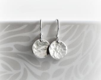 Silver Disc Earrings Hammered Earrings Mothers Day Gift, Tiny Silver Dangle Earrings Small Minimalist Earrings Silver Full Moon Earrings