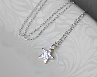 Star Necklace Silver, Gift for Her, Small Star Necklace, Delicate Silver Necklace, Star Charm Necklace Christmas Gift for Her, Blissaria