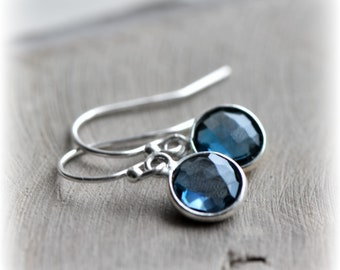 London Blue Topaz Earrings Tiny Topaz Dangle Earrings Sterling Silver Earrings Topaz Jewelry Gift for Her Birthstone Handmade by Blissaria