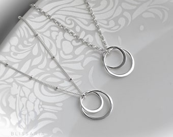 Silver Circles Necklace, Double Circle Necklace, Sterling Silver Christmas Gift for Her, Everyday Necklace, Sisters Necklace, Blissaria