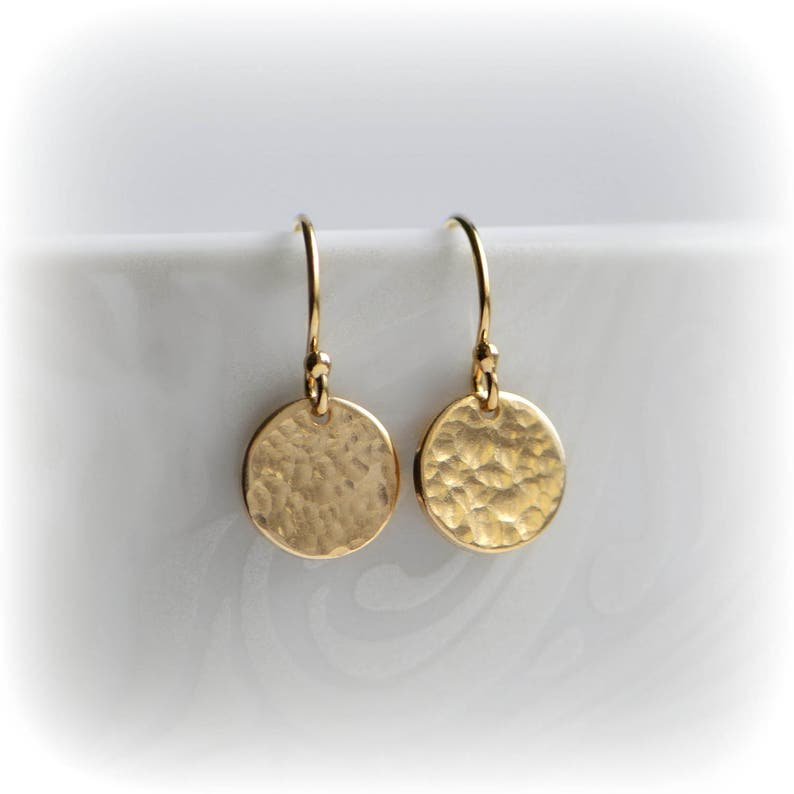 Hammered Gold Earrings Small Gold Disc Earrings UK Tiny Gold image 0