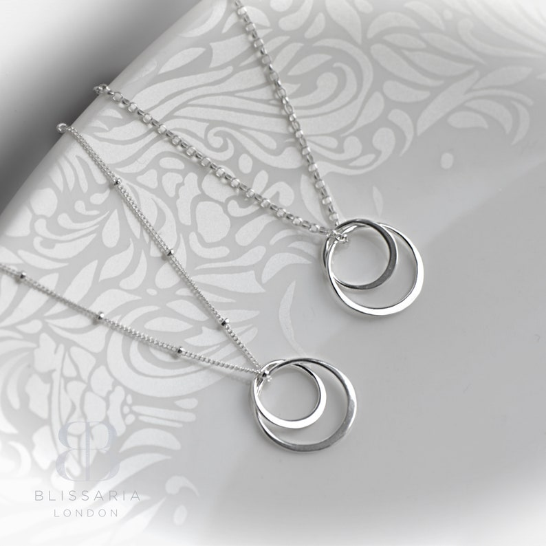 Silver Circles Necklace Double Circle Necklace Sterling image 0
