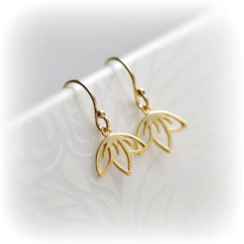 bdf8fea73f5e8 Gift for Her, Gold Dangle Earrings Small Gold Earrings Flower Jewelry,  Cherry Blossom Earrings, Tiny Gold Earrings Sakura Earrings Blissaria