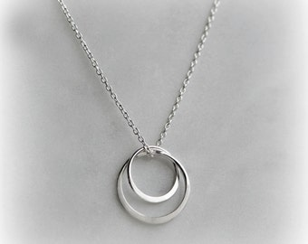 Silver Circles Necklace, Double Circle Necklace, sterling silver Gift for Women, Everyday Necklace, Sisters Necklace, Gift for Her Blissaria