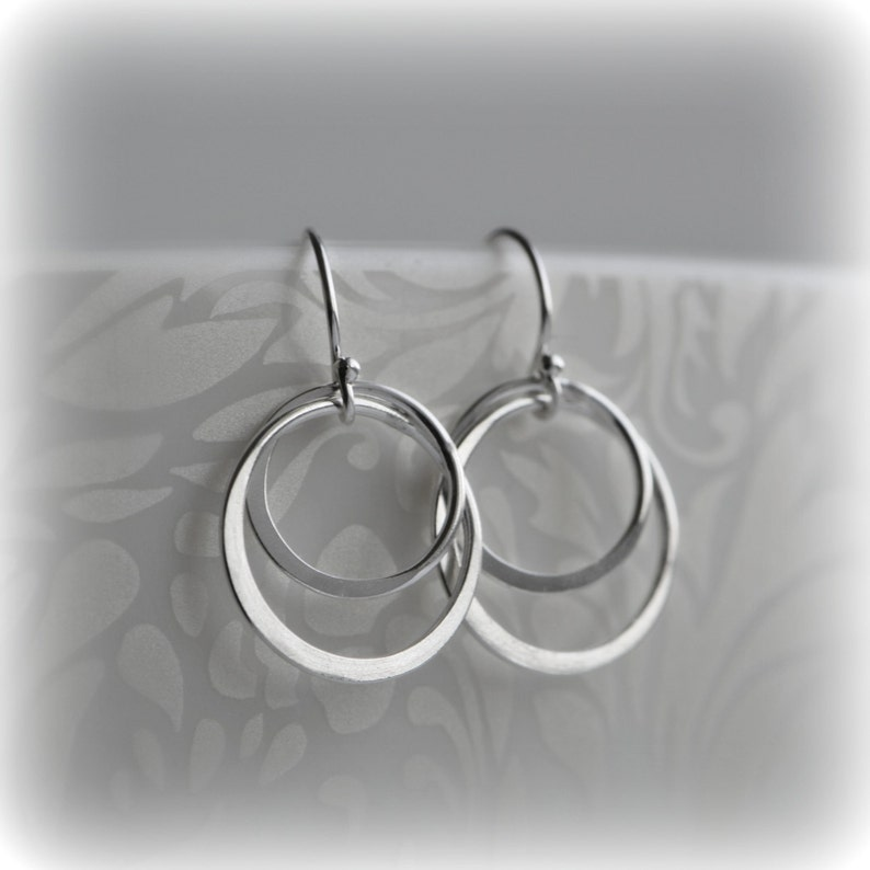 Double Hoop Earrings Silver Hoop Earrings Sterling Silver image 0