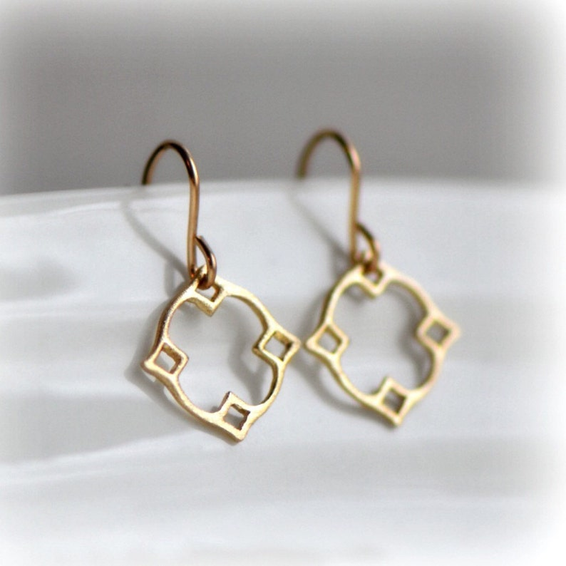 Moroccan Dangle Earrings Gold Christmas Gift for Women Tiny image 0
