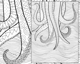 Octopus Adult Coloring Page Sheet Colouring Pdf Book Printable Sea Digital