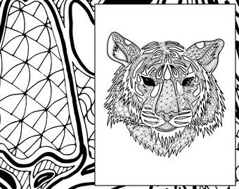 Digital Tiger Coloring Sheet Animal Pdf Zentangle Colouring Page Sketch Grown Up