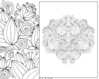 Floral Coloring Page Adult Digital Flower Mandala Henna Botanical Colouring Sheet