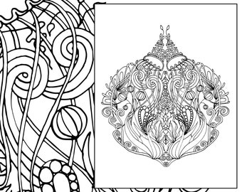 Adult Coloring Page Adult Coloring Sheet Ocean Colouring Etsy