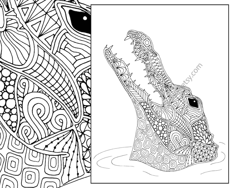 animal coloring page, alligator coloring page, adult coloring page,  intricate crocodile coloring pdf, printable coloring, digital coloring
