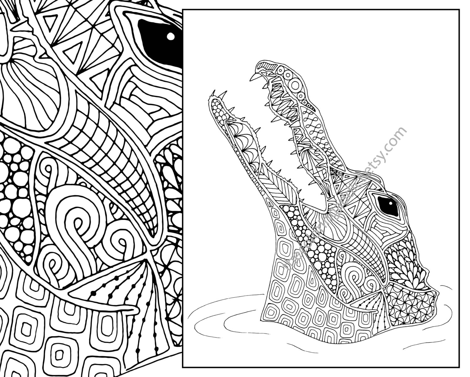 animal coloring page alligator coloring page adult coloring | Etsy