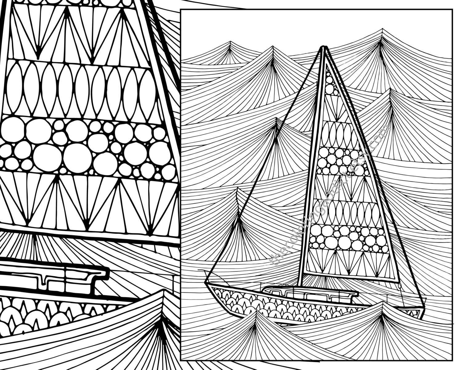 Ocean Wave Adult Coloring Page Sailboat Sheet