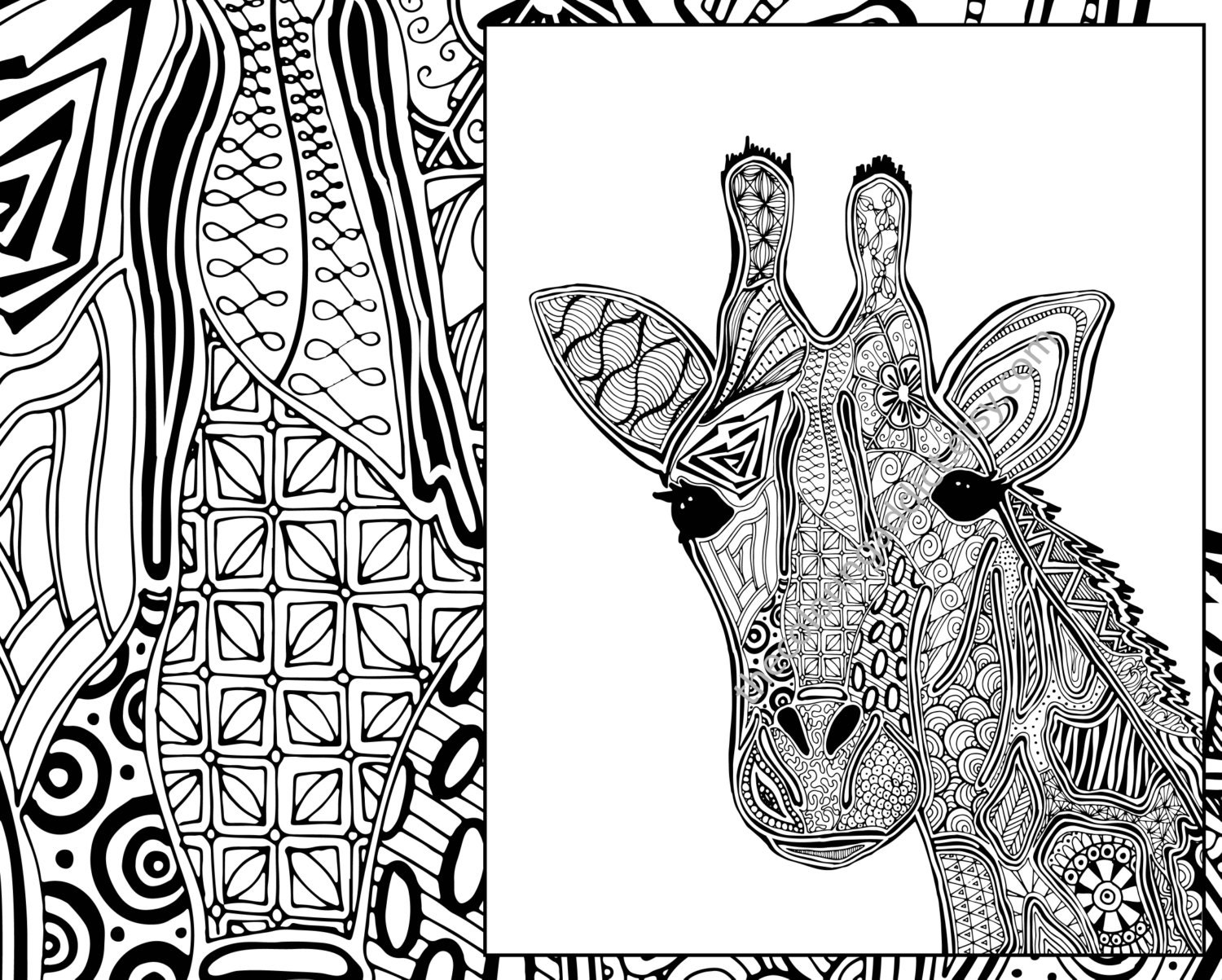Giraffe Coloring Page Animal Coloring Page Adult Coloring Etsy