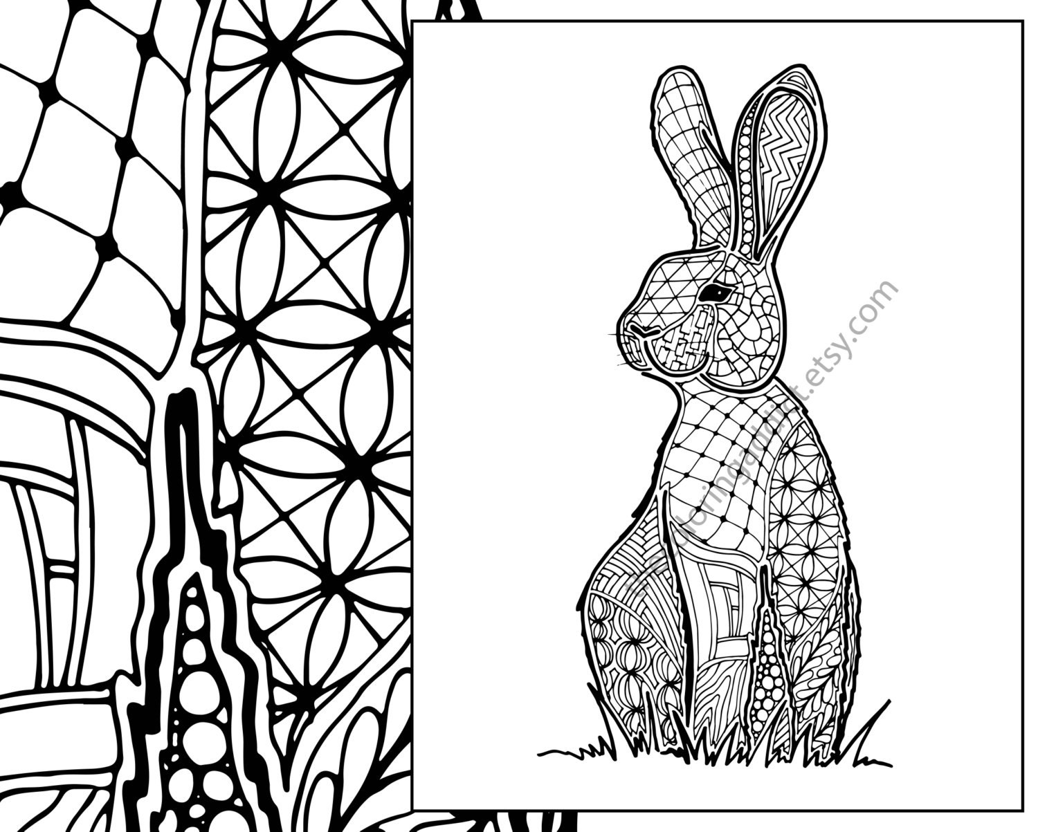bunny rabbit coloring sheet animal coloring pdf zentangle | Etsy