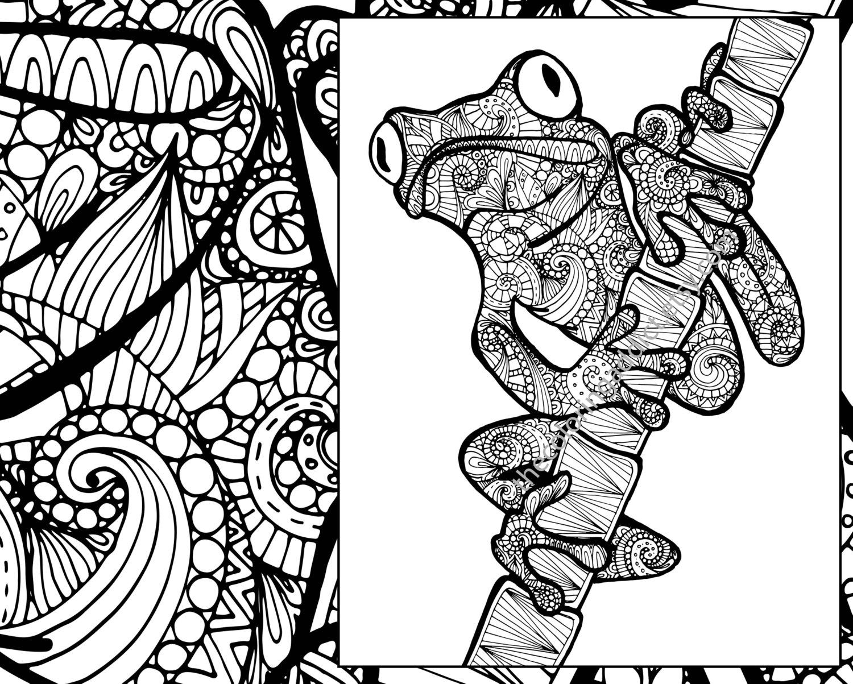 Frog Coloring Sheet Animal Pdf Zentangle Adult