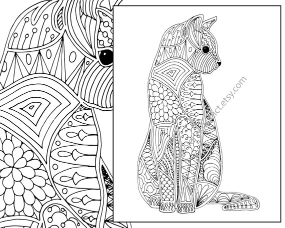 cat coloring page advanced coloring page adult coloring | Etsy