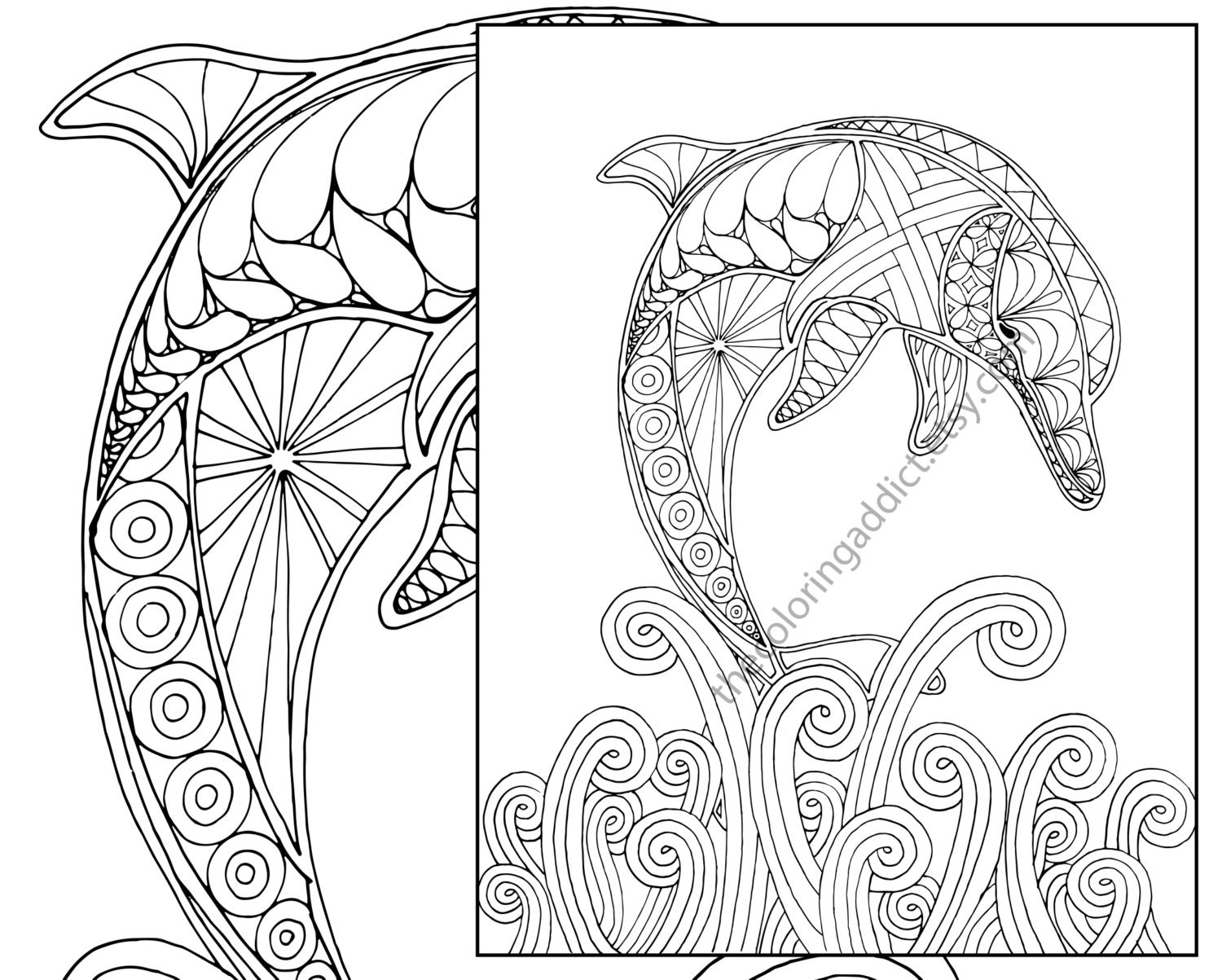 dolphin coloring page adult coloring sheet nautical | Etsy