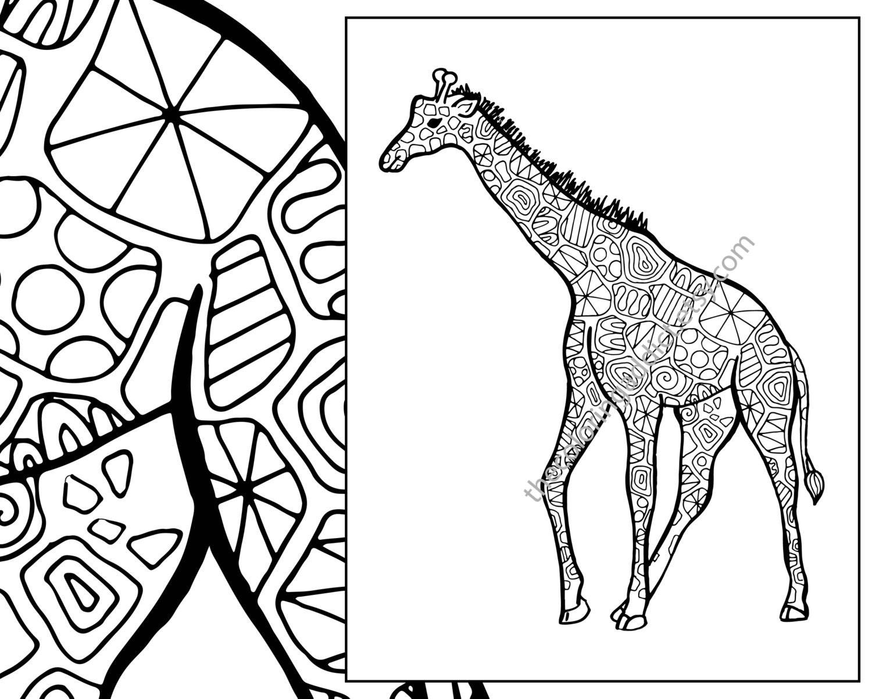 giraffe coloring sheet animal coloring pdf zentangle etsy. Black Bedroom Furniture Sets. Home Design Ideas