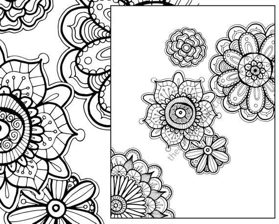 Henna Flower Adult Coloring Sheet Instant Coloring Pdf Etsy