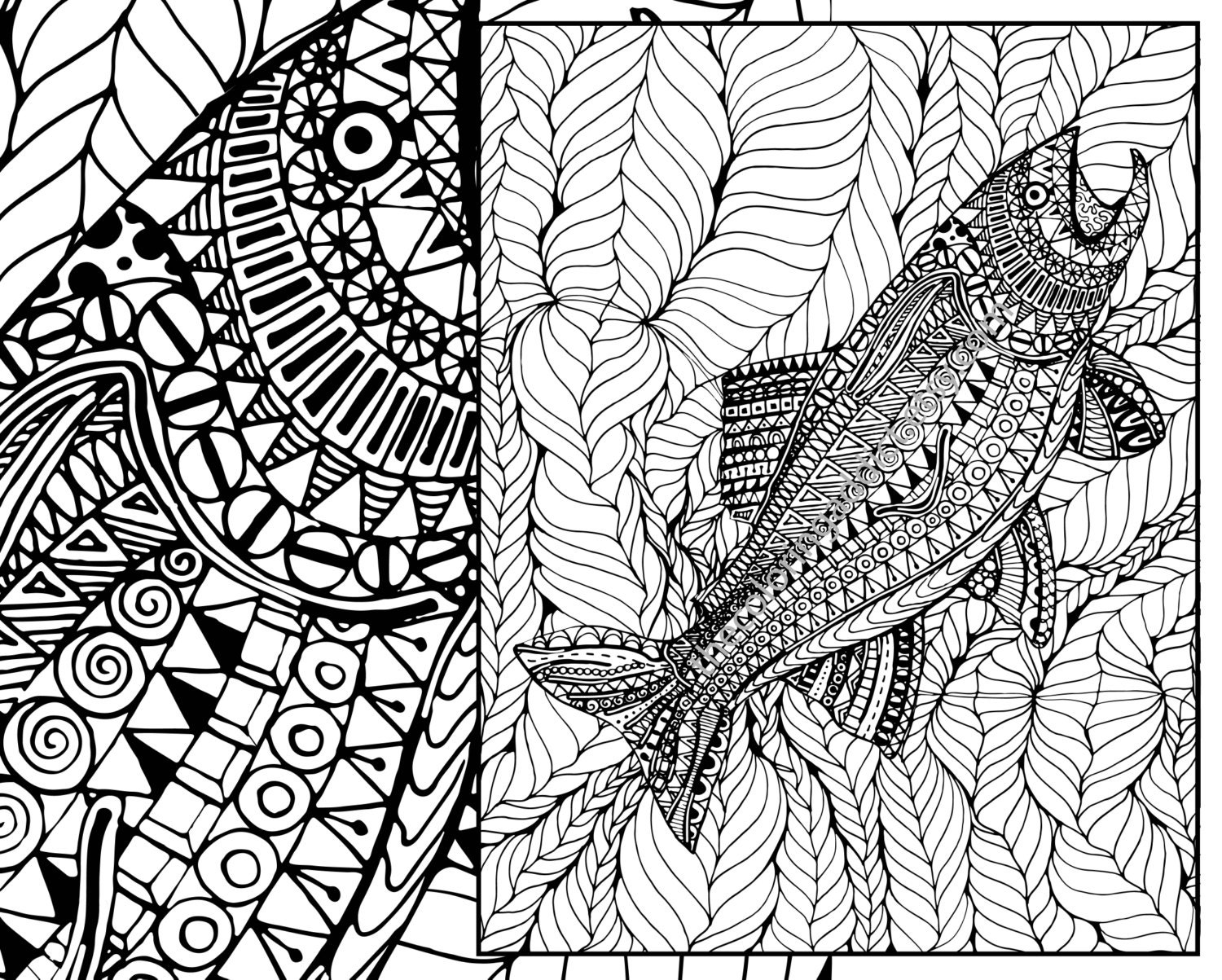 Adult coloring page adult coloring sheet ocean colouring | Etsy