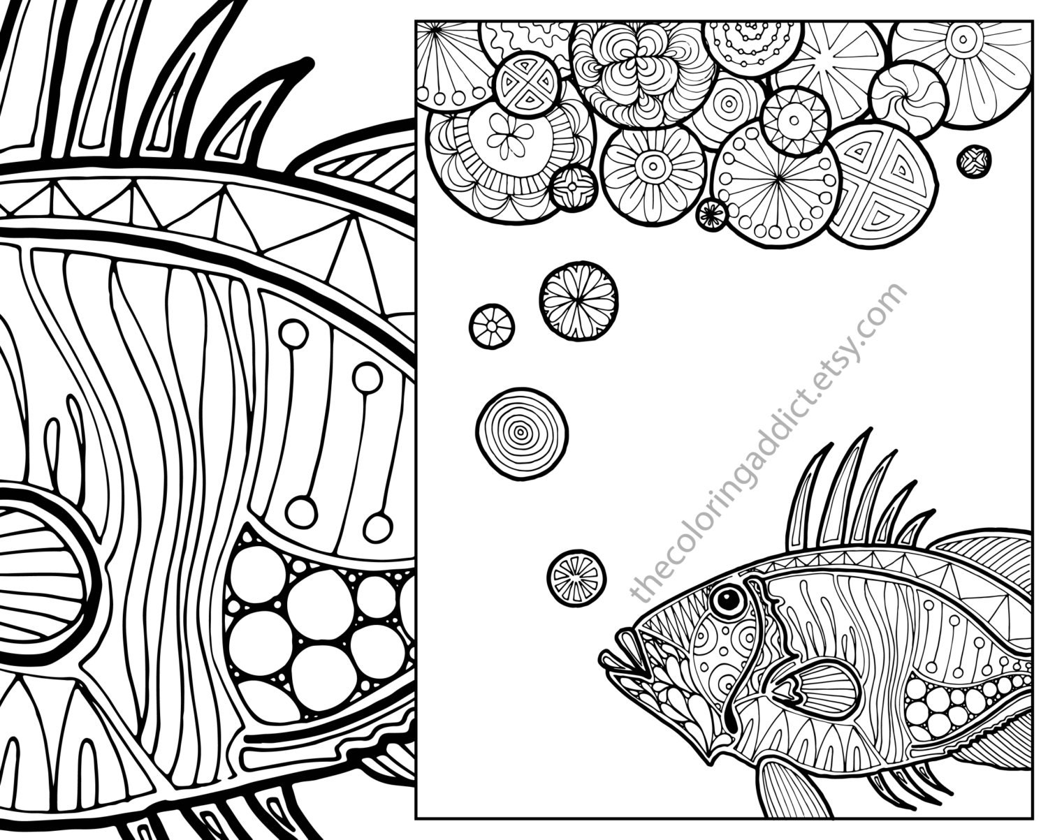 Nautical Adult Coloring Page Ocean Adult Coloring Sheet Etsy