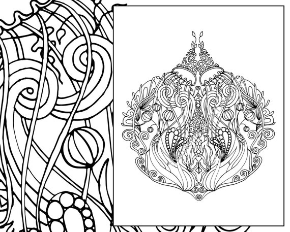 Mandala coloring page adult coloring sheet ocean coloring | Etsy