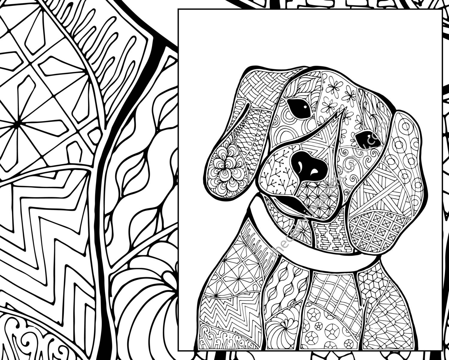 coloring in pages of dogs | zentangle dog colouring page animal colouring zentangle | Etsy