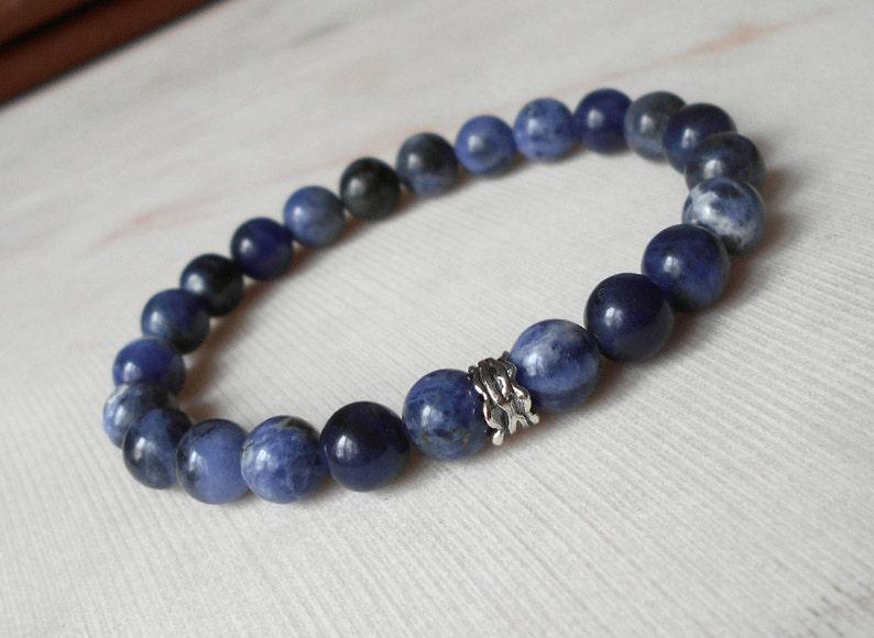 Sodalite bracelet Mens bracelet Gift for men Stretch blue bracelet women Sodalite jewelry Gift for boyfriend Silver insert gemstone bracelet