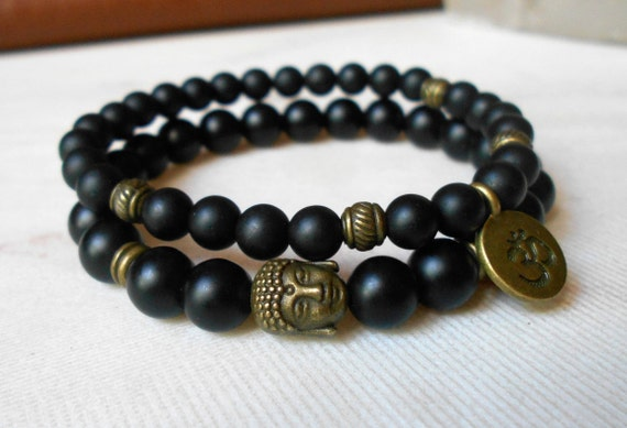 9bf0d8fbbecbc3 Mala Bracelet Men Bead Bracelet Yoga Set of 2 Bracelets Buddha Bracelet  Yoga jewelry Om Bracelet Shungite Stacking Black Bracelets Gemstone