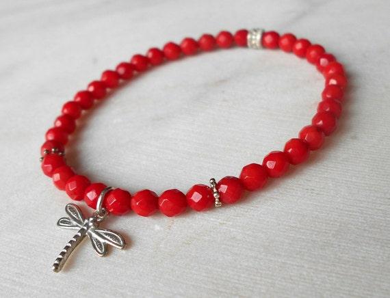 silver ball stretch bracelet Elasticated Dragonfly Carnelian