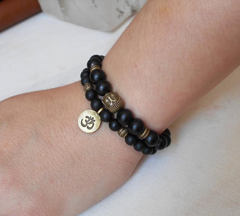 Mala Bracelet Men Bead Bracelet Yoga Set of 2 Bracelets Buddha Bracelet Yoga jewelry Om Bracelet Shungite Stacking Black Bracelets Gemstone