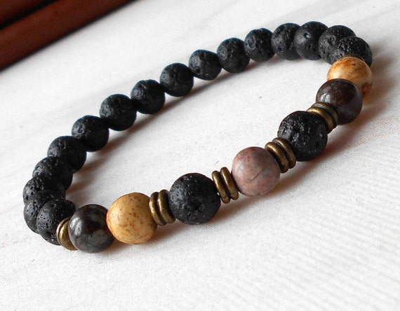 Mens Lava Bracelet Beaded Bracelet Men Lava Bead Bracelet Etsy