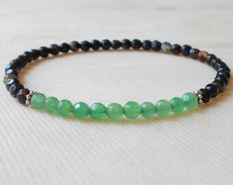 Small Gemstone Bracelet for Women Green Jade Bracelet Stretch Beaded Bracelet 4 mm Black Bead Bracelet for Her Black Agate Bracelet Women