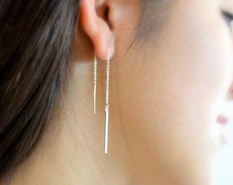 Square bar threaders, Threader Earrings, Ear thread dangles, Pull-through earring, 925 silver, Chain thread earrings, Chain dangle earrings