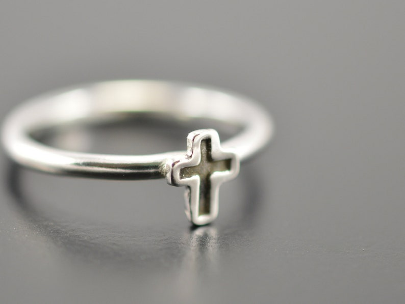 129f10bb4dd22 Tiny cross ring, Cross ring, Christian ring, Promise ring, Faith ring, Her  gift, Easter jewelry, Silver cross ring, Silver stacking rings