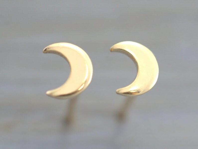 7dbc2843e Gold Moon studs 100% HANDMADE Gold Crescent moon Moon   Etsy