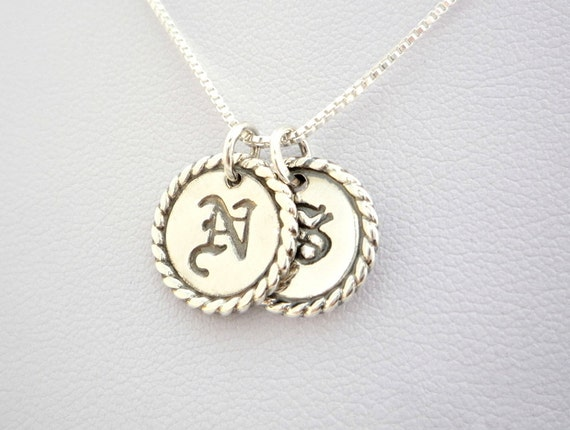 100/% Handcrafted Personalized Initial Disc pendant Personalaized charm Personalized jewelry Initial disc pendant Solid Sterling silver