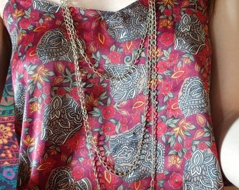 Used Silver Triple Strand Long Necklace
