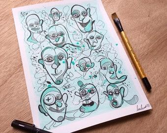 Floating Faces (Blue 2) - Original