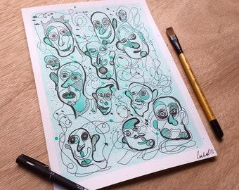 Floating Faces (Blue 1) - Original