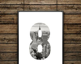 """Poster """"8"""" Number - Scandinavian style - Wall decoration - Typographic Illustration - Black and White - Gift"""