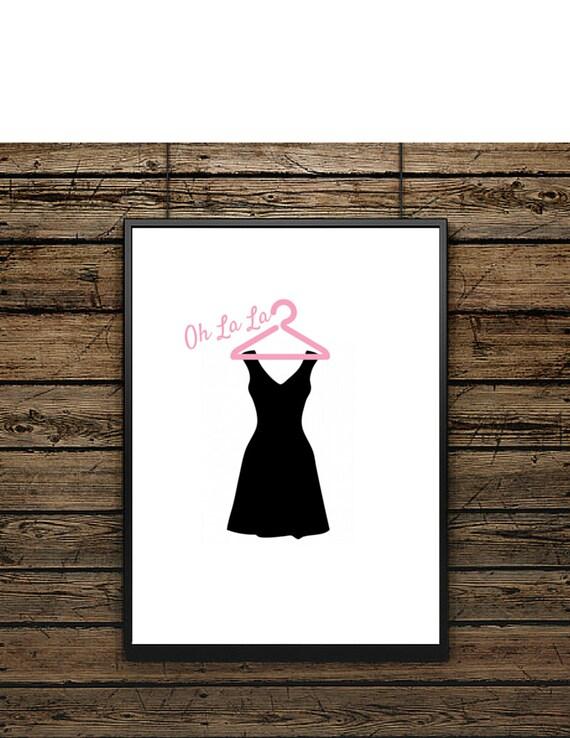 affiche illustration petite robe noire tableau noir et blanc etsy. Black Bedroom Furniture Sets. Home Design Ideas
