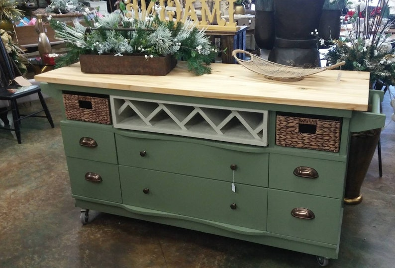 This recycled dresser makes the perfect kitchen island-With a image 0