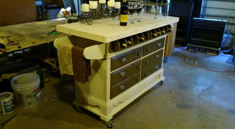 This Postfab Dresser Turned Into A Rolling Kitchen Island With A Wine Bar Theme