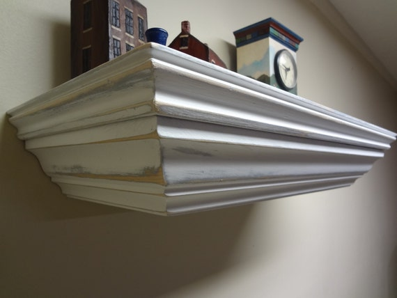 "23"" Concealment Shelf for Gun Storage with Magnetic Lock, White Shabby Chic finish"