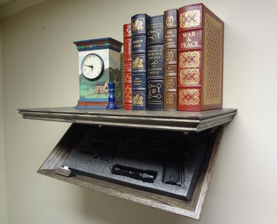 """23"""" Concealment Oak Shelf with Magnetic Lock and Ebony Stain"""